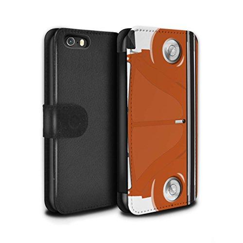 Stuff4 Coque/Etui/Housse Cuir PU Case/Cover pour Apple iPhone 5/5S / Rouge d'Afrique Design / Rétro Coccinelle Collection Orange Vif