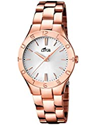 Lotus  0 - Reloj de cuarzo para mujer, con correa de acero inoxidable, color oro rosa