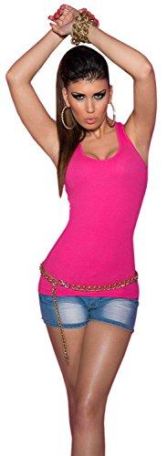 Koucla femme top cARRIER-uni en avec boutons en strass taille unique (convient du 34 au 40) Rose - Rose bonbon