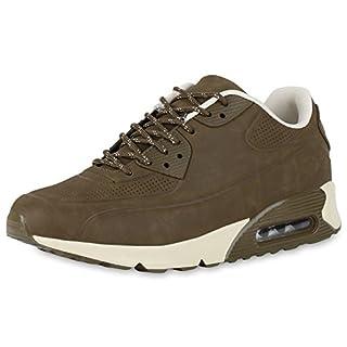 Herren Sportschuhe Lederoptik Sneakers Runners Laufschuhe Schuhe Dunkelgrün Glatt 44