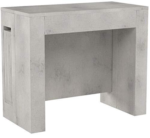 Mobili Fiver, Konsolentisch zum Ausziehen mit Verlängerungen, Easy, Beton Optik, 45 x 90 x 76 cm