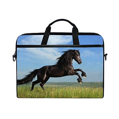 Ahomy 38,1-39,1cm Laptop Laptop, Pferd Sky Grasland Canvas Stoff Tasche zudem Handtasche mit Schultergurt für Damen und Herren