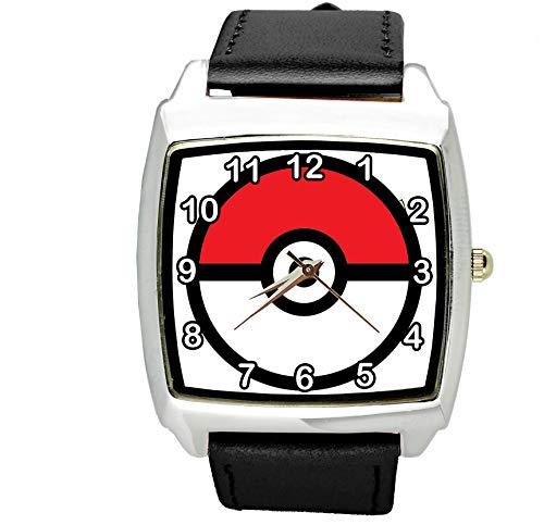 taport Pokemon Quadratisch Quarzuhr Schwarz Leder Band + Gratis Ersatz Akku + Geschenk Tasche