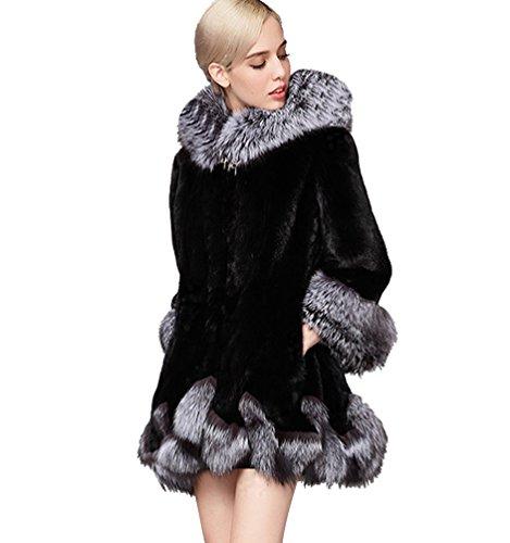 YiLianDa Abrigos Chaquetas de Pelo Sintético Mujer Casual Abrigo de Invierno Negro XL