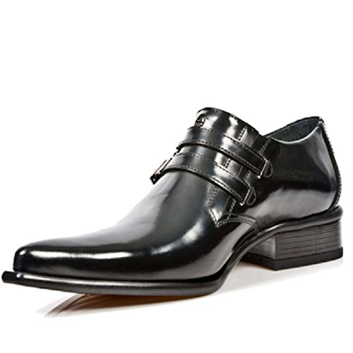 New Rock Mens Black Echtes Leder Newman Smart / Formal Schuhe Schwarz