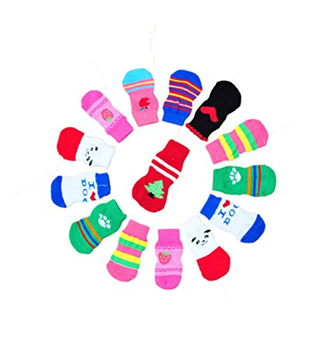 ontrolle Baumwolle Socken Indoor Hund rutschfeste Socken stricken 5Sets zufällige Farbe (Alles 5 Stiefel)