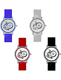 Divine Red,Sky,White And Black Color Round Dial Quartz Wrist Watch For Women For Girls (Set Of 4 Ps)