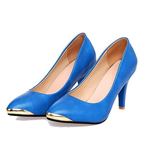 VogueZone009 Femme Tire Pointu à Talon Haut Pu Cuir Couleur Unie Chaussures Légeres Bleu