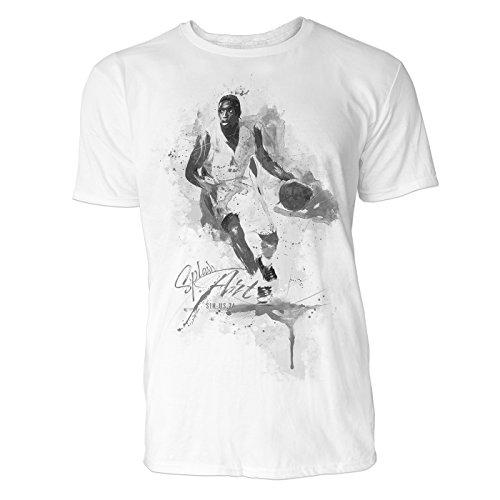 Basketball Angriff Sinus Art Herren T Shirt (Schwarz Weiss) Sportshirt Baumwolle -