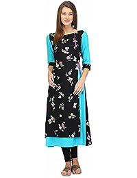 PRINTEMPS Stylish Layered Black & Blue Kurta/Kurti For Women & Girl