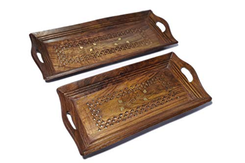 Lunatic Craftwork Hand Carved Wooden Serving Tray Set of 2 (Tea, Coffee, Snacks, Water) Decorative Tray/Platter for Home/Kitchen/Table Decor