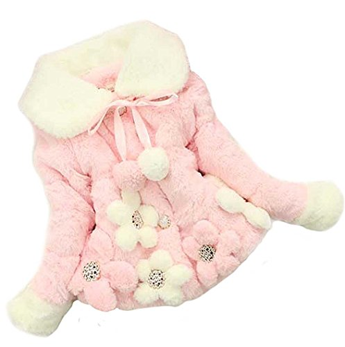 ZEARO Blumenmantel Baby Mädchen Jacke Revers Dicker Mantel Warm Wintermantel Oberbekleidung Outwear für 1-5 Jahr Kinder