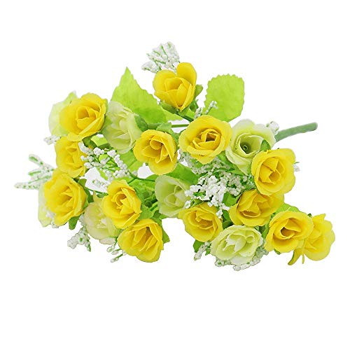 ACAMPTAR R Gelb kuenstliche Rose Hochzeit Party Hause Dekor Seide Blume (Seide Blumen Rosen Gelb)