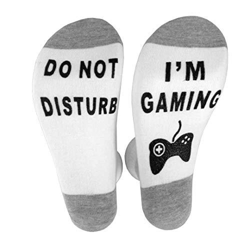 Sunshine D Lustige Socken, Don't Disturb, I'm Gaming Cotton Neuheit Socken Perfect Gamer Geschenk für Geburtstag Halloween Weihnachten, Grau und Weiß