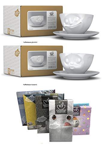 TV Tassen Kaffeetassen mit Henkel 2er Set, KÜSSEND+GLÜCKLICH, 200 ml, Fiftyeight Products