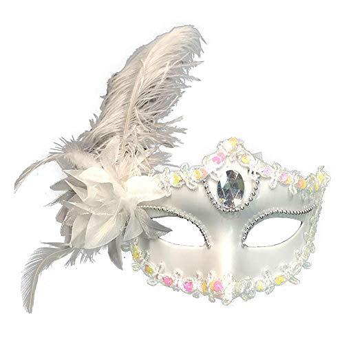 Kinder Bühne Augenmaske Maske Prom Erwachsene weibliche Prinzessin High-End-Make-up Fox beliebte Federmaske Sexy (Color : Weiß)