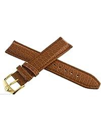 TAG Heuer marrón correa de piel tono de oro hebilla reloj Band 18mm