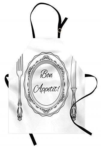 Lunarable Delantal Bon Appetit, Cubiertos y Utensilios Vintage con Curvas Victorianas y...