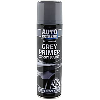 All Purpose Automotive Spray Paint 250ml Can Grey Primer Finish Aerosol Metal Interior Exterior Fast Dry Excellent Coverage Adhesion - Grey Primer - Single