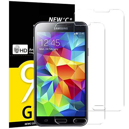 NEW'C Lot de 2, Verre Trempé pour Samsung Galaxy S5 Mini Film Protection écran - Anti Rayures - sans Bulles d'air -Ultra Résistant (0,33mm HD Ultra Transparent) Dureté 9H Glass