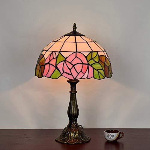 Art Glass Vintage Tisch Lampe (CH-LIGHT Europäische Rose Schlafzimmer Nachttischlampe Vintage Tiffany Art Glass Shop Restaurant Bar Tischlampe 12 Zoll,40W)