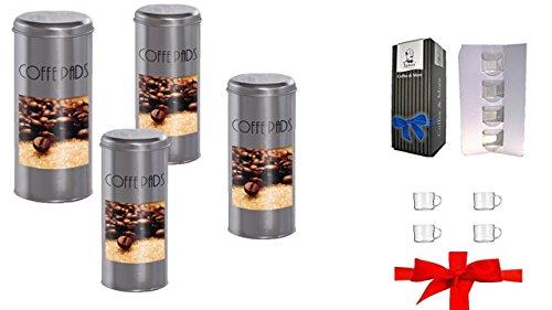 Kaffeepaddose 4 Stück und 4 Espresso Glastassen von James Premium®