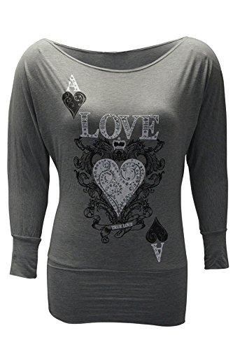 Damen Übergröße Wahre Liebe Herzdruck Hemd Nouvelle Holzkohle