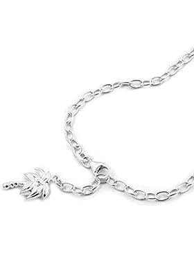 Latotsa Silberkette Sterling Silber 925 Charmanhänger Anker Kette Halskette Ankerkette mit Palme Baum Charm Anhänger...