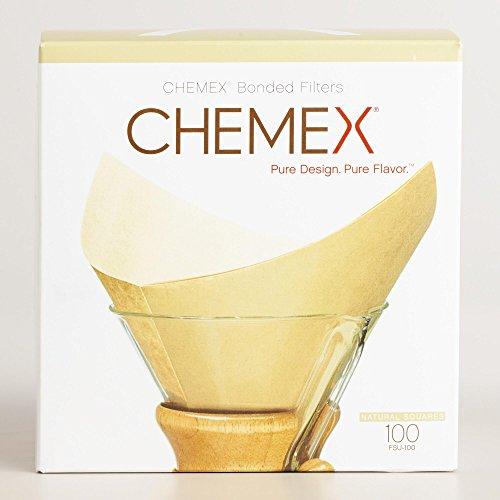 Chemex Papier-Filter FSU-100, quadratische Natur Filter für die 6, 8 und 10 Tassen-Karaffe, 100...