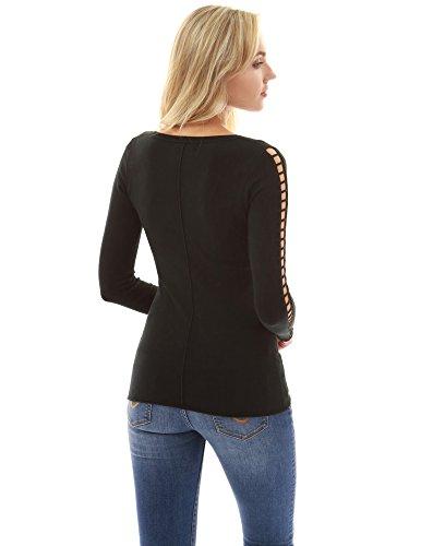 PattyBoutik femmes Encolure en crochet en dentelle à manches longues Noir