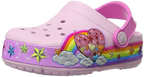 crocs CrocsLights Rainbow Heart Clog, Mädchen Clogs, Pink (Ballerina Pink 6GD), 24/25 EU (C8 Mädchen UK)