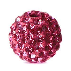 I-Beads - Perle Style Shamballa Ronde Deluxe Rose 10mm (1)