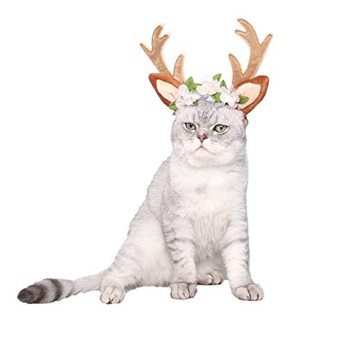 OMEM Haustier Cosplay Geweih Stirnband Urlaub Kunst Foto Fellpflege Zubehör für Katzen Hunde Kaninchen