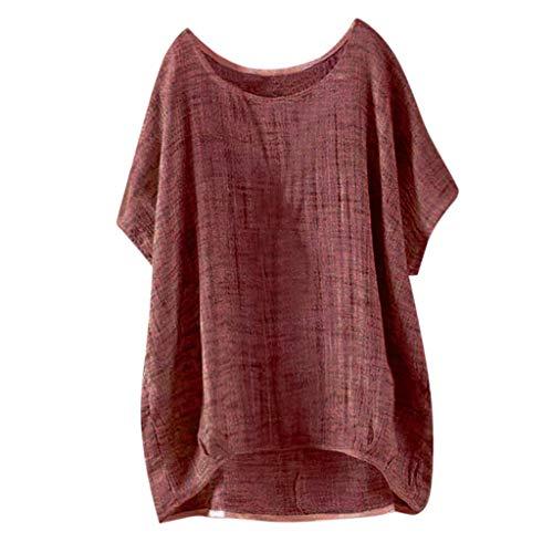 Damen Sommer Freizeithemd Kurzarm Loses Bluse O-Ausschnitt Einfarbig Jeden Tag T-Shirt Leichtgewicht Atmungsaktiv Bluse Outdoor Strandhemd -
