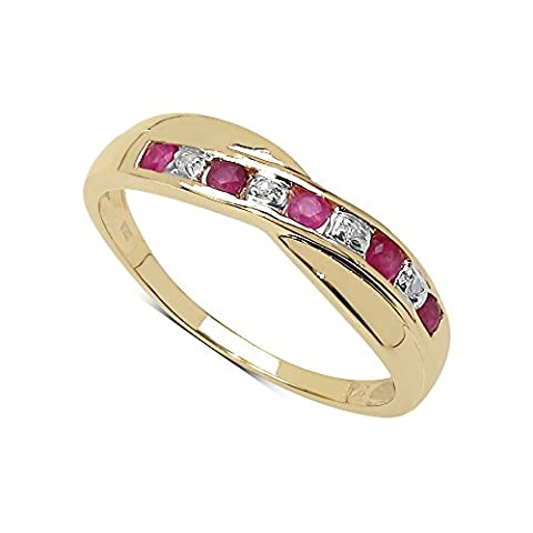La Collection Bague Diamant : Bague Or 9ct avec Rubis et set croisé en Diamants, Bague pour Cadeau Anniversaire ou Engagement Bague Eternité, Taille de la Bague 57