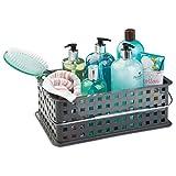 InterDesign Basic Cesto portaoggetti, Organizer multiuso di misura media in plastica per bagno e cucina, grigio ardesia