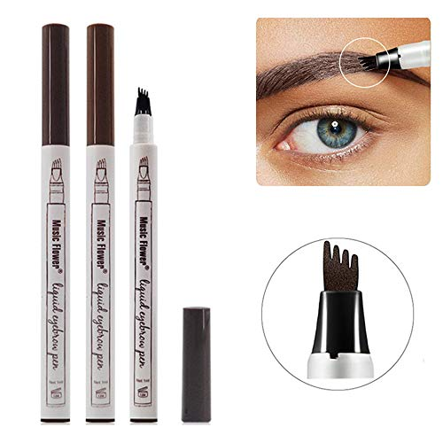 Tattoo Augenbrauenstift mit 4 Fork Tips, 2 PCS Brauenstifte Brow Gel(Chestnut & Brown) Wasserdicht Langanhaltend Augenbrauenstift Eyebrow Pencil Tattoo Eyebrow Pen für Natürlich Augen Make-up