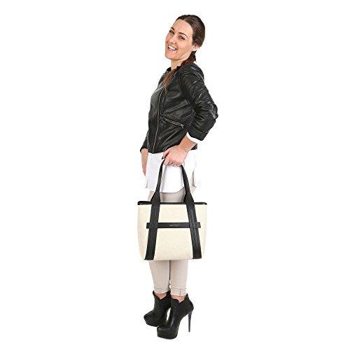 Trussardi Sac main de shopping de femme avec de grandes poignées, le tissu et les pices en cuir véritable de veau 34x27x16 Cm Mod. 76B120M Beige Noir