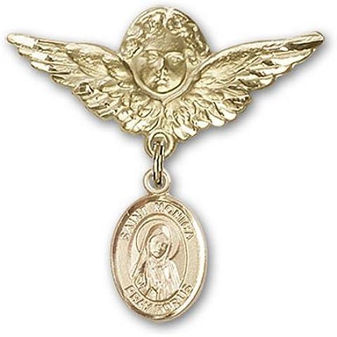 Icecarats Oro Gioielli Di Design Riempito St. Monica Fascino Angelo Pin Distintivo 1 1/8 X 1 1/8
