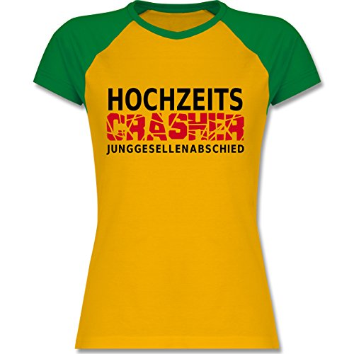 Hochzeit - Hochzeit Crasher - zweifarbiges Baseballshirt / Raglan T-Shirt für Damen Gelb/Grün