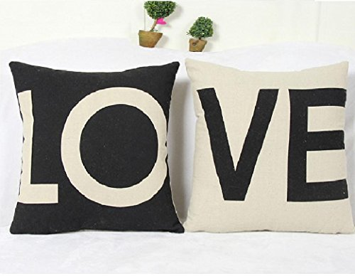 Monicaxin Pacco da 2 Copri Cuscino Cotone Lino Federa Arredo Casa per Salotto per Divano (L'Amore-Love)