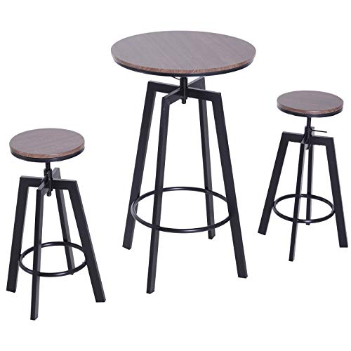 HOMCOM 3-teilige Essgruppe Sitzgruppe Esstisch Bistrotisch Bartisch Holztisch Holz + Metall dunkle Naturholzoptik + Schwarz mit 1 Tisch + 2 Hockern