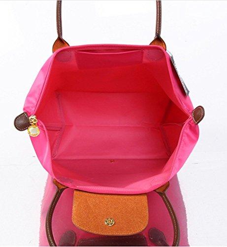 YAAGLE Handtasche Damen Nylon Schultertasche für Shopper Strand Reise Faltbar purpur