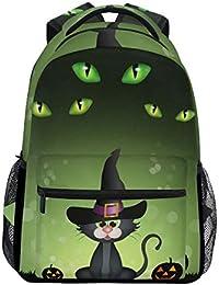 Preisvergleich für Ahomy Schulrucksack Buchtasche für Teenager Mädchen Jungen, Halloween, Schwarze Katze, Kürbis-Reiserucksack für...