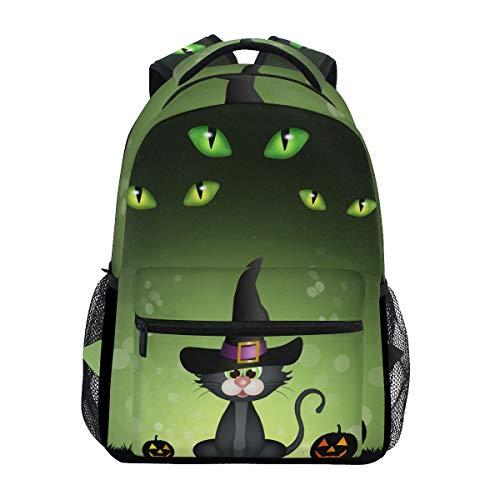 Ahomy Schulrucksack Buchtasche für Teenager Mädchen Jungen, Halloween, Schwarze Katze, Kürbis-Reiserucksack für Frauen und Herren (Schwarze Halloween-kürbisse, Katze)
