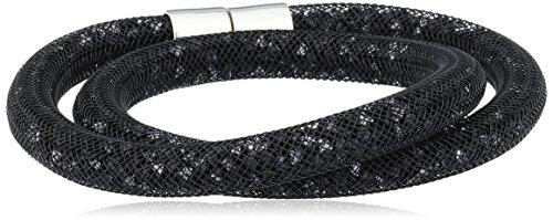 Swarovski 5089844 stardust - braccialetto doppiocolore jet nero con chiusura magnetica palladiata, taglia medium, 40 centimetri