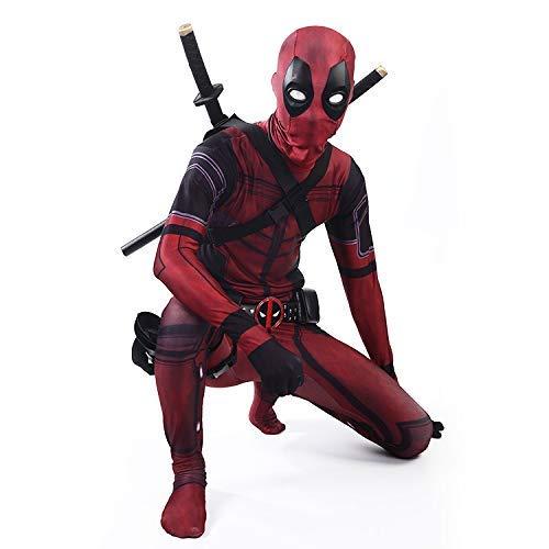 werty Cosplay Kleidung Deadpool Anzug Cosplay Kostüm Lycra Siamese Strumpfhosen 3D Digitaldruck Enge Weihnachten Halloween Kostüm Für Erwachsene/Kinder Tragen Kid-M