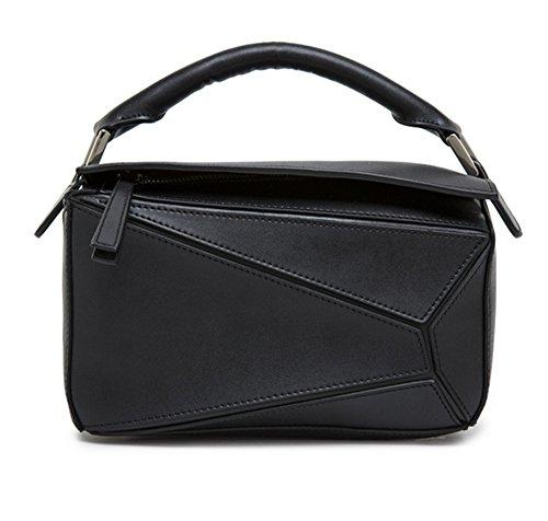 Sacs à main pour femme Xinmaoyuan Fashion Couture géométrique Sac à bandoulière sac à main en cuir Black