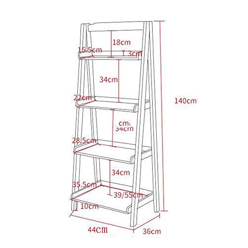 Bzj Regale Regale mit 4 Etagen Bücherregal, freistehendes Leiterregal mit stabilem Metallrahmen, viel Platz für Lagerregale,Nussbaum,44cm -