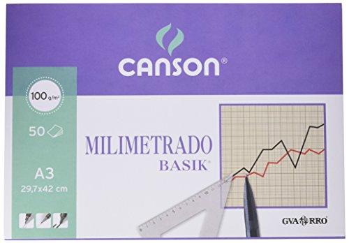 Guarro Canson 200402863 Carta Millimetrata A3, Blocchetto 50 Fogli
